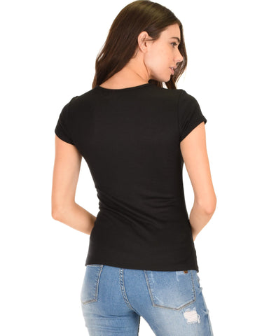 Lyss Loo V-Neck Strappy Black Ribbed Top - Clothing Showroom