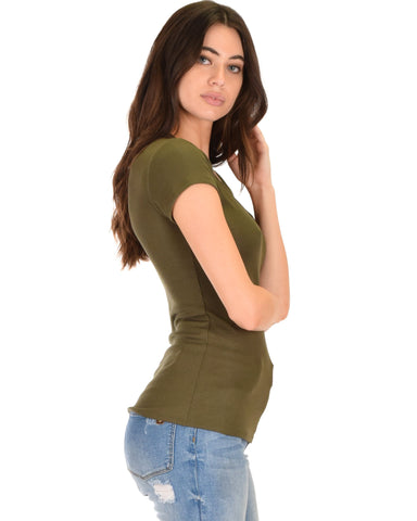 Lyss Loo V-Neck Strappy Olive Ribbed Top - Clothing Showroom