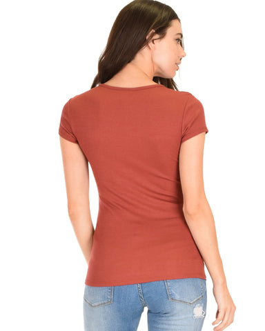 Lyss Loo V-Neck Strappy Rust Ribbed Top - Clothing Showroom