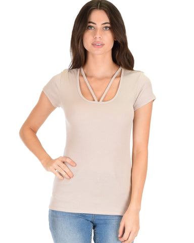 Lyss Loo V-Neck Strappy Taupe Ribbed Top - Clothing Showroom