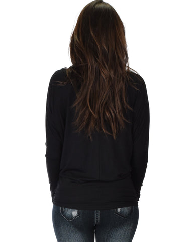 Lyss Loo Contemporary Long Sleeve Black Dolman Tunic Top - Clothing Showroom