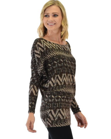 Lyss Loo Contemporary Long Sleeve Patterned Brown Dolman Tunic Sweater Top - Clothing Showroom