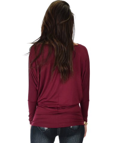 Lyss Loo Contemporary Long Sleeve Burgundy Dolman Tunic Top - Clothing Showroom