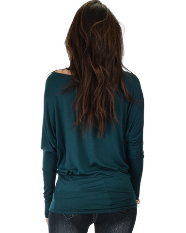 Lyss Loo Contemporary Long Sleeve Green Dolman Tunic Top - Clothing Showroom