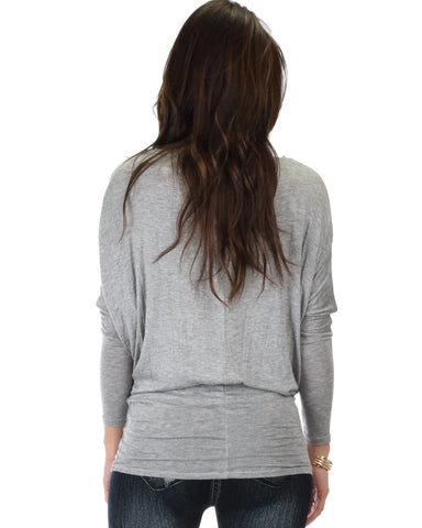 Lyss Loo Contemporary Long Sleeve Grey Dolman Tunic Top - Clothing Showroom