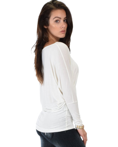 Lyss Loo Contemporary Long Sleeve Ivory Dolman Tunic Top - Clothing Showroom