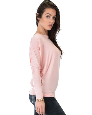 Lyss Loo Contemporary Long Sleeve Pink Dolman Tunic Top - Clothing Showroom