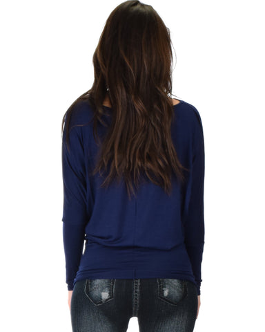 Lyss Loo Contemporary Long Sleeve Navy Dolman Tunic Top - Clothing Showroom
