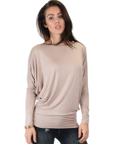 Lyss Loo Contemporary Long Sleeve Taupe Dolman Tunic Top - Clothing Showroom