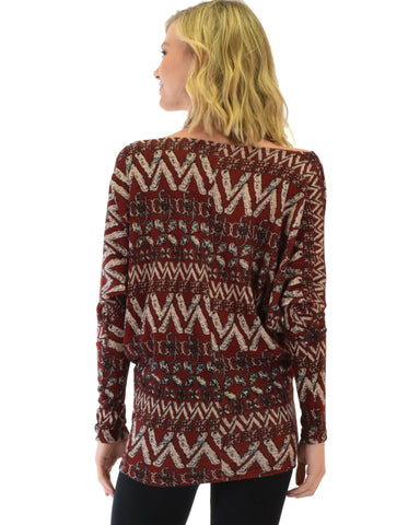 Lyss Loo Contemporary Long Sleeve Patterned Burgundy Dolman Tunic Sweater Top - Clothing Showroom