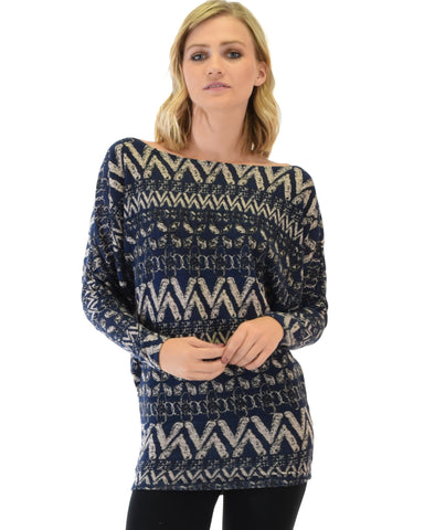 Lyss Loo Contemporary Long Sleeve Patterned Navy Dolman Tunic Sweater Top - Clothing Showroom