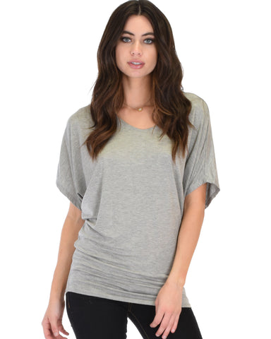 Lyss Loo Contemporary Dolman Grey Tunic Top - Clothing Showroom