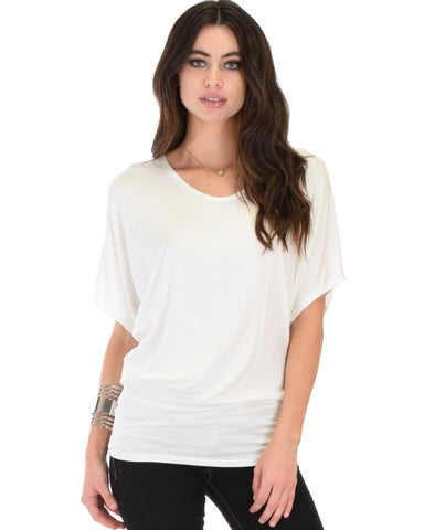 Lyss Loo Contemporary Dolman Ivory Tunic Top - Clothing Showroom