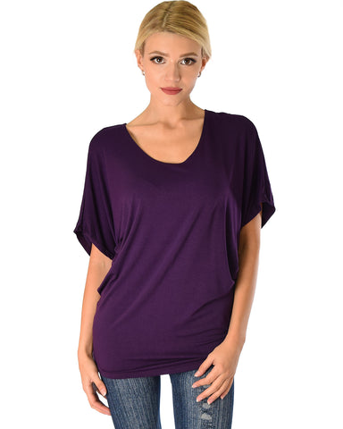 Lyss Loo Contemporary Dolman Purple Tunic Top - Clothing Showroom