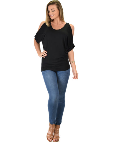 Lyss Loo Contemporary Cold Shoulder Black Dolman Tunic Top - Clothing Showroom