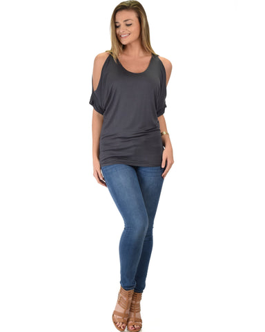 Lyss Loo Contemporary Cold Shoulder Charcoal Dolman Tunic Top - Clothing Showroom