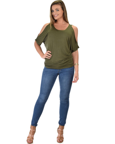 Lyss Loo Contemporary Cold Shoulder Olive Dolman Tunic Top - Clothing Showroom