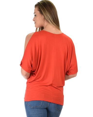 Lyss Loo Contemporary Cold Shoulder Rust Dolman Tunic Top - Clothing Showroom