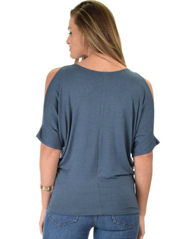Lyss Loo Contemporary Cold Shoulder Blue Dolman Tunic Top - Clothing Showroom