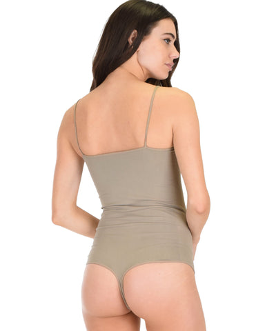 T2530 Onesie Thong Taupe Body Suit 6 - Clothing Showroom