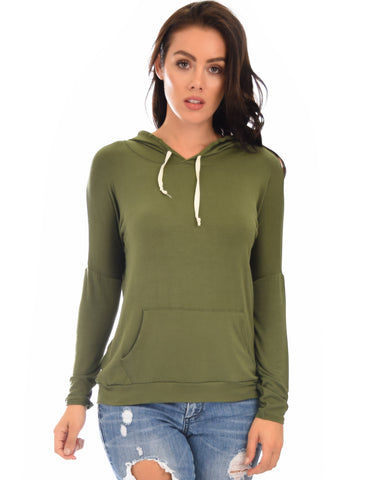 Lyss Loo Easy Rider Drawstring Olive Hoodie Top