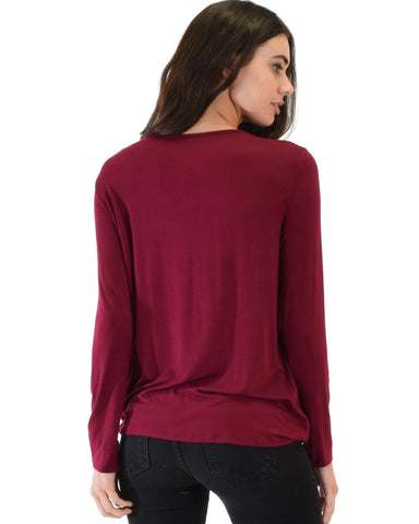 Lyss Loo Sweeter Than Sugar Burgundy Long Sleeve Cross Straps Top - Clothing Showroom