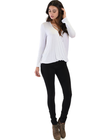 Lyss Loo Sweeter Than Sugar Ivory Long Sleeve Cross Straps Top - Clothing Showroom