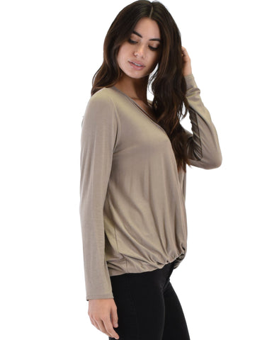 Lyss Loo Lyss Loo Sweeter Than Sugar Taupe Long Sleeve Cross Straps Top - Clothing Showroom