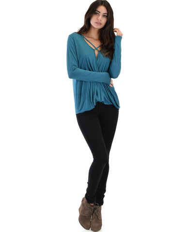 Lyss Loo Sweeter Than Sugar Teal Long Sleeve Cross Straps Top - Clothing Showroom