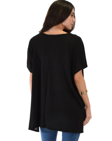 Lyss Loo Wide Neck Oversized Black Thermal Top - Clothing Showroom