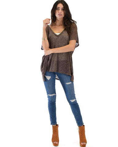 Lyss Loo Wide Neck Oversized Brown Thermal Top - Clothing Showroom