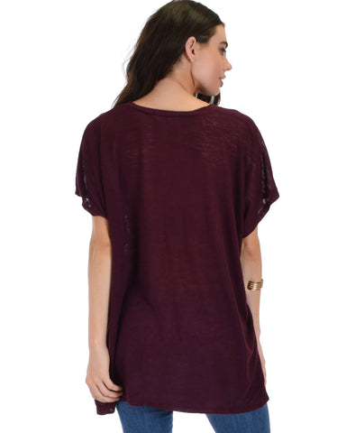 Lyss Loo Wide Neck Oversized Burgundy Thermal Top - Clothing Showroom