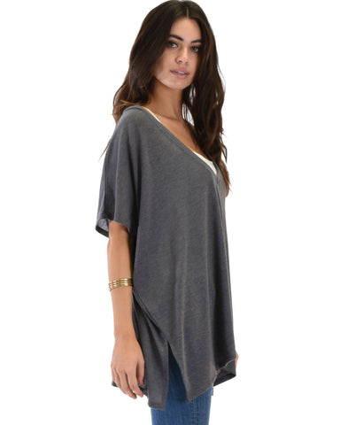 Lyss Loo Wide Neck Oversized Charcoal Thermal Top - Clothing Showroom