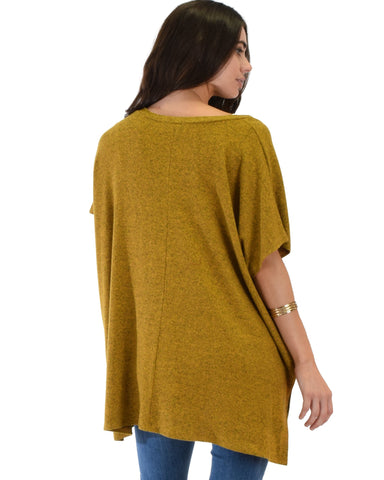 Lyss Loo Wide Neck Oversized Mustard Thermal Top - Clothing Showroom