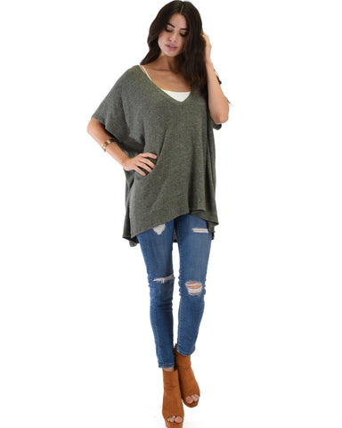 Lyss Loo Wide Neck Oversized Olive Thermal Top - Clothing Showroom