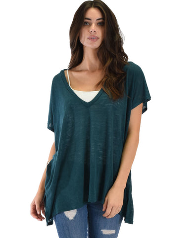 Lyss Loo Wide Neck Oversized Teal Thermal Top - Clothing Showroom