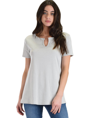 Lyss Loo Best Basic Grey Tee - Clothing Showroom