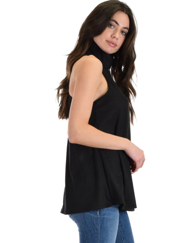 Lyss Loo Topanga Black Sleeveless Turtleneck Top - Clothing Showroom