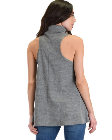 Lyss Loo Topanga Grey Sleeveless Turtleneck Top - Clothing Showroom
