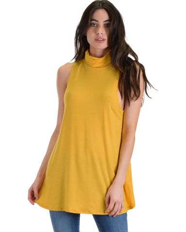 Lyss Loo Topanga Mustard Sleeveless Turtleneck Top - Clothing Showroom