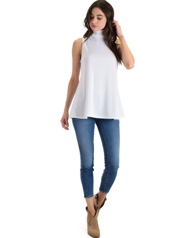 Lyss Loo Topanga White Sleeveless Turtleneck Top - Clothing Showroom