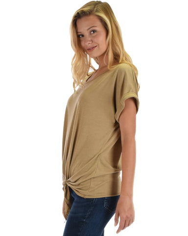 Deer Heart Cuffed Sleeve Front Tie Tunic Top