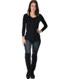 Lyss Loo Cut Me Out Cold Shoulder Black Long Sleeve Top - Clothing Showroom