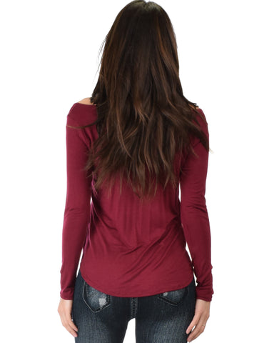 Lyss Loo Cut Me Out Cold Shoulder Burgundy Long Sleeve Top - Clothing Showroom