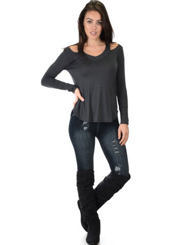 Lyss Loo Cut Me Out Cold Shoulder Charcoal Long Sleeve Top - Clothing Showroom