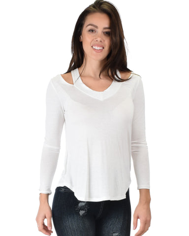 Lyss Loo Cut Me Out Cold Shoulder Ivory Long Sleeve Top - Clothing Showroom