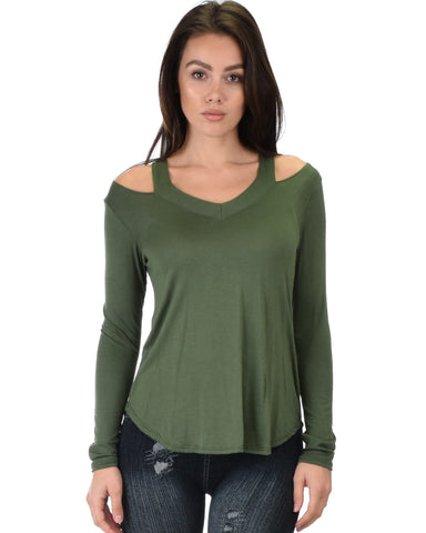 Lyss Loo Cut Me Out Cold Shoulder Olive Long Sleeve Top - Clothing Showroom