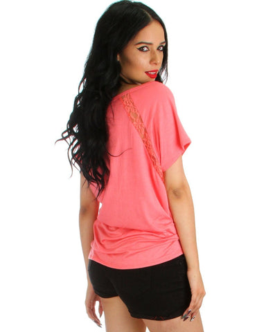 Lyss Loo Check Out My Lace Accents Pink Tunic Top - Clothing Showroom