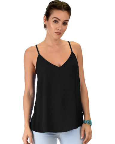 Lyss Loo What's Strap-Pening Cross Back Straps Black Tank Top - Clothing Showroom