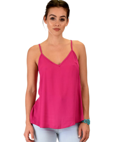 Lyss Loo What's Strap-Pening Cross Back Straps Magenta Tank Top - Clothing Showroom